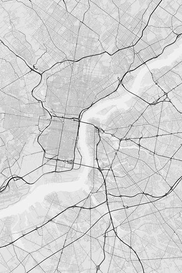 Philadelphia, USA Map. (Black on white) von Graphical-Maps