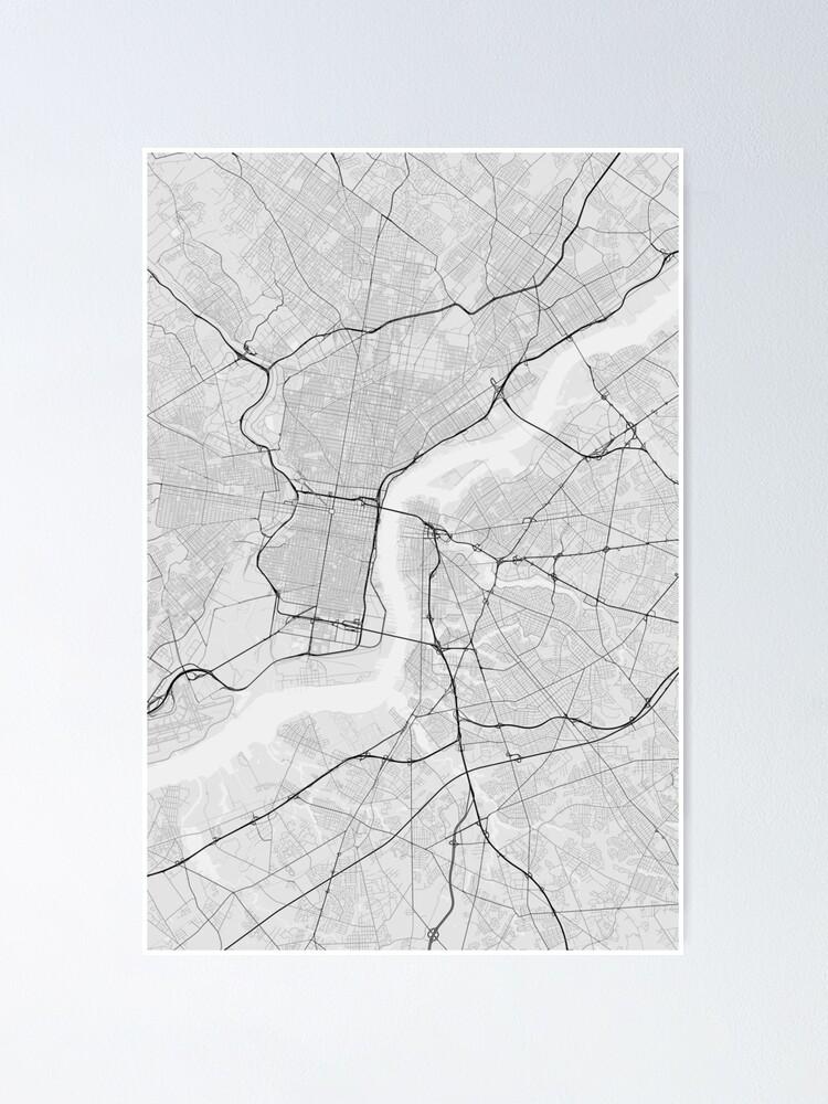 Philadelphia, USA Map. (Black on white)   Poster