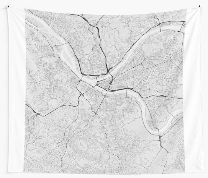 Pittsburgh Usa Map Black On White Wall Tapestries By Graphical