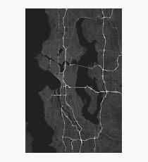 Seattle, USA Map. (White on black) Fotodruck