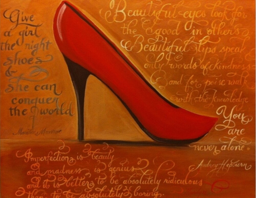 Red Stiletto calligraphy art for women by Melissa Goza