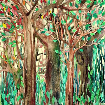 Walking through the Forest - watercolor painting collage von micklyn