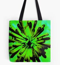 Green + Black Painted Flower Tote Bag