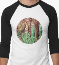 Lost in the Forest - watercolor painting collage Men's Baseball ¾ T-Shirt