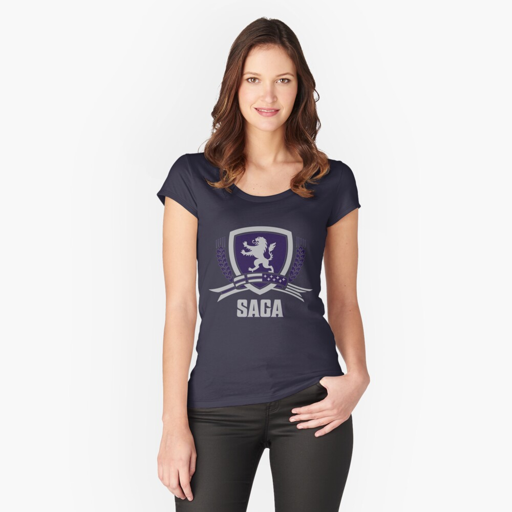 SAGA Official Merchandise BLACK Women's Fitted Scoop T-Shirt Front