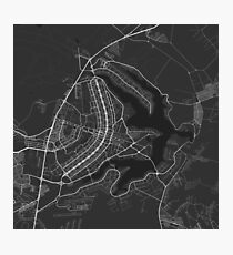 Brasilia, Brazil Map. (White on black) Photographic Print