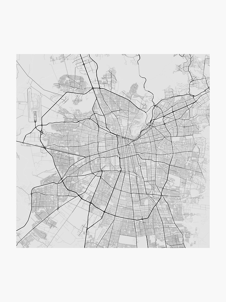 Santiago, Chile Map. (Black on white) | Photographic Print