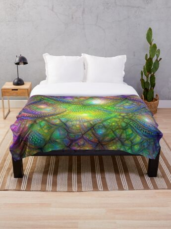 Alien skin #DeepDream Throw Blanket