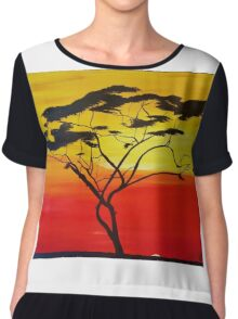 African Plains Tree Chiffon Top