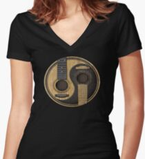 Acoustic Guitars Yin Yang Women's Fitted V-Neck T-Shirt