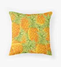 watercolor pattern with pineapples Throw Pillow