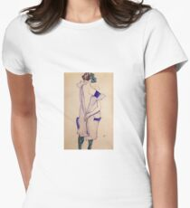 Egon Schiele - Standing Girl In A Blue Dress And Green Stockings Back View 1913 Womens Fitted T-Shirt