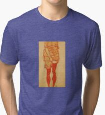 Egon Schiele - Standing Woman In Red 1913 Tri-blend T-Shirt