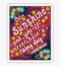 Be Sunshine Quote, Lettering, Flower And Leaf Doodle, Inspirational Sticker