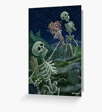 Romantic Valentine Skeletons in Graveyard Greeting Card