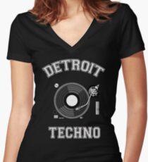 Detroit Techno Women's Fitted V-Neck T-Shirt