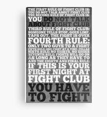 Fight Club Rules Metal Print