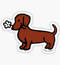 Red Smooth Dachshund Tiny Flower Sticker