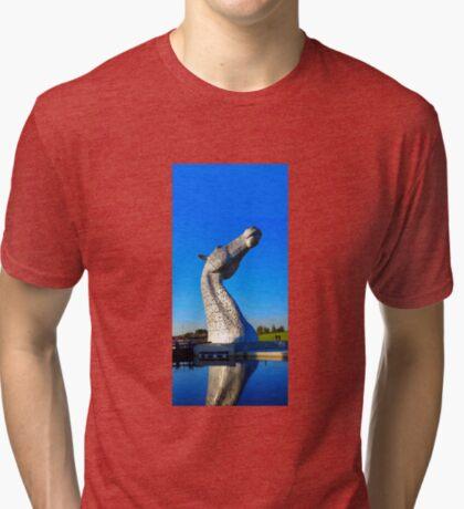 the Kelpies in Falkirk Tri-blend T-Shirt