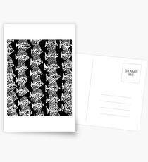 Black and White Abstract Fish Art Tote Bag Postcards