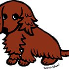 Red Long Haired Dachshund Sweet Eyes by HappyLabradors