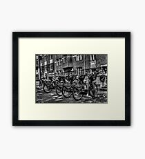 Yellow Bicycles In Monochrome Framed Print