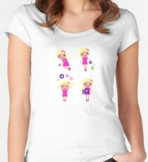 Little gardener Girl. Vector cartoon girls. Women's Fitted Scoop T-Shirt