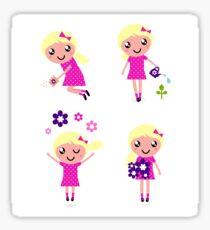 Little gardener Girl. Vector cartoon girls. Sticker
