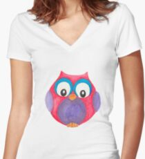 Elwood the curious little owl Women's Fitted V-Neck T-Shirt