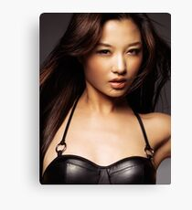 Beautiful asian woman with long flying brown hair art photo print Canvas Print