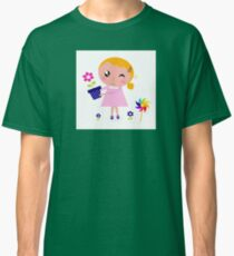 Little cute child holding pink flower - authors illustration Classic T-Shirt