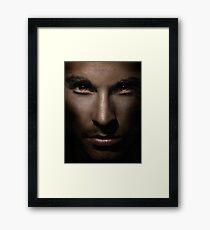 Closeup of man face with shining fierce eyes art photo print Framed Print