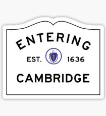 Entering Cambridge - Commonwealth of Massachusetts Road Sign Sticker