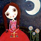 Mixed Media Girl Zodiac Libra by Laura Bell
