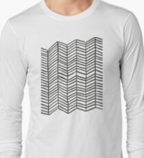 Herringbone – Black & White Long Sleeve T-Shirt