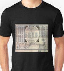 0046 Railroad Maps Road road route from Boston Massachusetts to Chicago T-Shirt