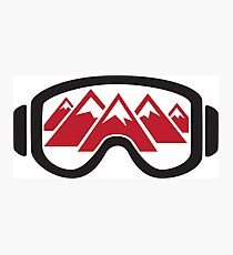 Reflected Mountains in Ski Goggles Photographic Print