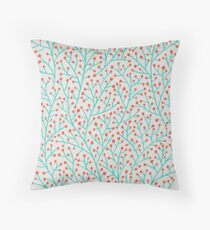Red & Turquoise Berry Branches Throw Pillow