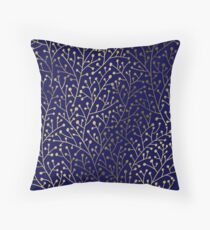 Gold Berry Branches on Navy Throw Pillow