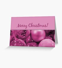 Merry Christmas purple baubles Greeting Card
