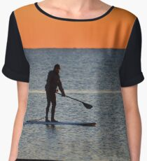 Standup Paddleboarding Across Nicoll Bay At Dawn | Great River, New York Women's Chiffon Top