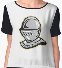 Knight Helmet Woodcut Chiffon Top
