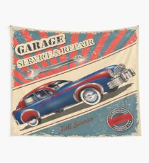 Vintage Garage Logo Wall Tapestry