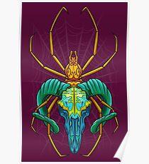 Bright Spider Skull Poster