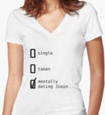 BTS - Mentally Dating Jimin Women's Fitted V-Neck T-Shirt