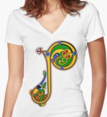 Kells Letter P (Color) Women's Fitted V-Neck T-Shirt