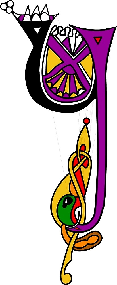 Kells Letter Y (Color) by CatholicSaints