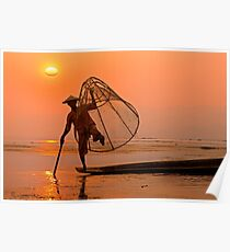 Cone Fishing on Inle Lake. Poster
