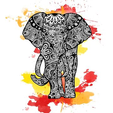 Tribal Elephant- Red Orange by tiffany8433