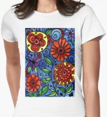 Abstract Colorful Flowers Women's Fitted T-Shirt